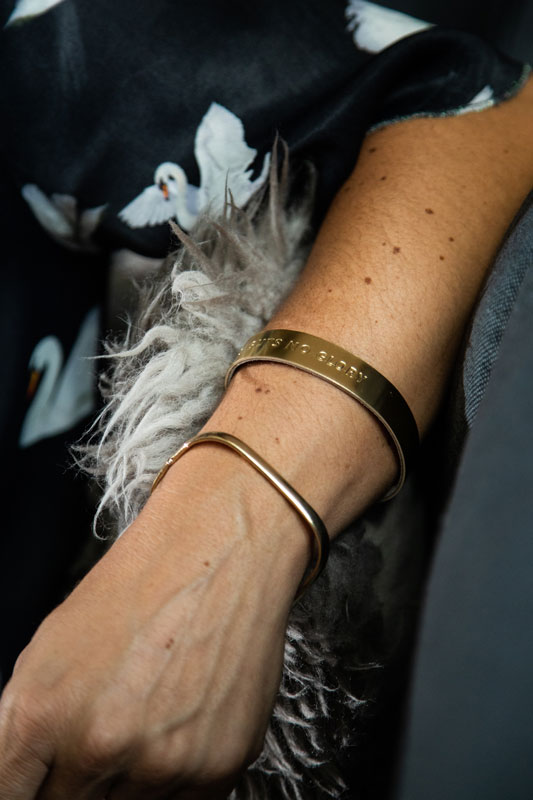 Gold wristbands with a message